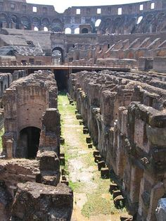 Pictures of the Colosseum in Rome, or Amphitheatrum Flavium: Main Passageway in the Colosseum's Floor