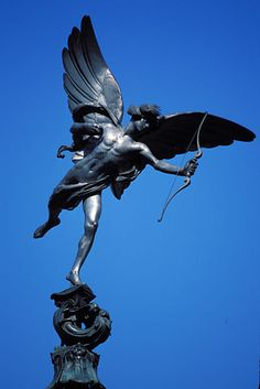 "1893.2006 in London.Alfred Gilbert (1854-1934)2The Shaftesbury Memorial Fountain,Piccadilly Circus, London England.The statue is popularly known as ""Eros"",but it is actually meant to be ""The Angel of Christian Charity""."