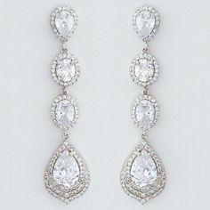 CZ Bridal Earrings | Long Dangling CZ Teardrop Earrings