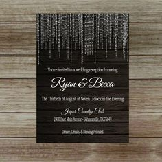 Items similar to Elegant Wedding Reception Invitation with Lights, Reception Only Invitation on Etsy Wedding Reception Invitation Wording, Destination Wedding Invitations, Elegant Invitations, Reception Card, Invitation Ideas, Reception Ideas, Wedding Reception Lighting, Wedding Reception Decorations, Trendy Wedding