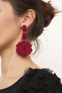 Red statement earrings, ruby swarovski earrings, soutache jewelry, handmade by manja Dreadlock Beads, Dread Beads, Soutache Earrings, Red Earrings, Dread Jewelry, Accesorios Casual, Gemstone Jewelry, Statement Jewelry, Handmade Sterling Silver