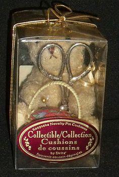 www.jaedasplaythings.com Dritz Pincushion Teddy Bear In Package Vtg Scissors Collectible Pin Cushion #Dritz