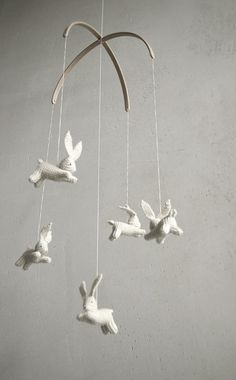 Bunny Mobile by Patricija  When I have a wee one maybe I can talk @Mary Beth Dollar into making this for the nursery...