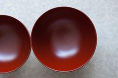 Large Red Lacquer Bowls by Akagi Akito