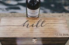 Wooden anniversary wine box