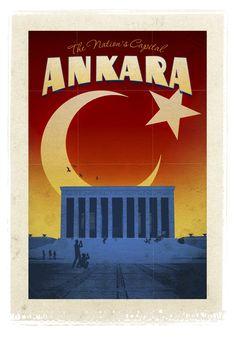 Ankara, Turkey Travel Poster - The Nation's Capital Ankara
