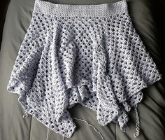 If you have mastered the granny square you can make this skirt! I originally made this from some recycled cotton I salvaged from a thrift shop sweater, but it was extremely similar to Sinfonia. As long as you check the gauge use any yarn you like. This skirt is made like a huge granny square with a hole in the center for the waist, to which you add a waistband and end up with a gorgeous asymmetric skirt. I look foward to seeing different versions of this!!