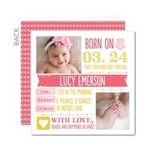 Stamped Charm: Medium Pink Birth Announcements