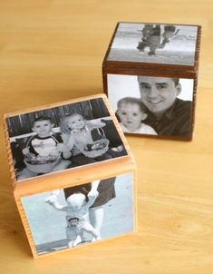 """DID this for father's day. spray painted each block a pastel color first. made one side of each block say a letter...3 stacked on top of each other that say """"D-A-D"""" with photos of my sisters & i. each block belonged to one sister and had only photos of her on it, and the top had a photo of the whole family together. i just glued them on bc mod podge wasn't working for me. came out perfect!"""