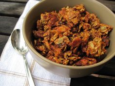 Pumpkin Granola and more of the best paleo pumpkin recipes on Paleo Pumpkin Recipes, Primal Recipes, Whole Food Recipes, Paleo Breakfast, Breakfast Recipes, Pumpkin Breakfast, Breakfast Cereal, Breakfast Casserole, Whole 30