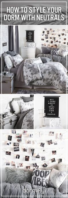 How to go un-basic with comfy neutrals! Design your dream dorm on dormify.com.