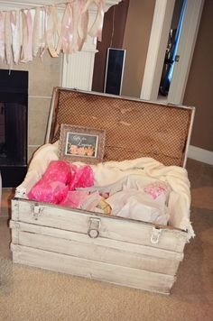 Shabby chic baby shower. Trunk for gifts.