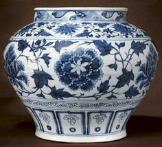 Chinese Art: Scrolling Peonies Jar Blue and White Yuan Dynasty