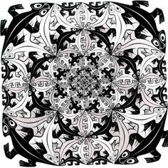 MC Escher - 1956 woodcut - Smaller and Smaller Mc Escher, Escher Art, Escher Drawings, Op Art, Les Reptiles, Drawn Art, Art Database, Dutch Artists, Art Graphique