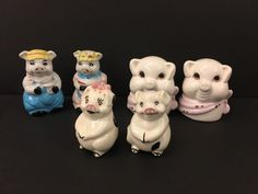 "Lot of Anthropomorphic PIG Salt and Pepper Shakers, 1 Large set of Pig Heads with pink scarfs, appr 3.5"" x 3"", 1 set of boy girl Black and white pigs with cute pink noses, 2.5"" tall, and 1 set of farmer Pigs in pink and blue outfits! 