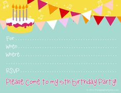 Free Printable Party Invitations: Free Printable Invite For A 5th Birthday  Party