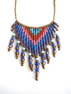 Ethnic necklace/Macrame necklace/Boho necklace/Macrame pendant/Micromacrame Macrame Colar, Macrame Necklace, Macrame Jewelry, Boho Jewelry, Beaded Bracelets, Jewelry Tools, Jewelry Crafts, Micro Macramé, Macrame Design