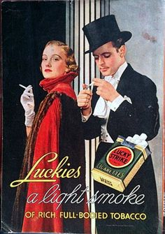Vintage 1930s Lucky Strike Cigarettes Advertisment Paper by Inkart, $3.00