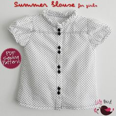 Summer blouse for Girls - 12M to 8Y - PDF Pattern and Instructions | YouCanMakeThis.com