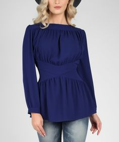 Look at this Glamour Apparel Royal Blue Draped Peplum Top on #zulily today!