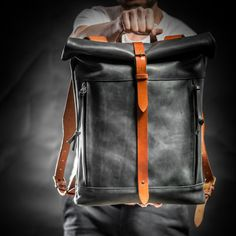 Leather backpack Roll top backpack by Kruk by KrukGarageAtelier