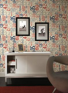 Decorate in a classic sports theme with Varsity Numbers wallpaper by York, available at http://lelandswallpaper.com