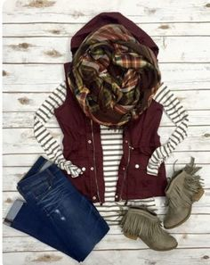 burgundy vest outfit w/ olive top + bootcut jeans + plaid scarf + olive boots Look Fashion, Fashion Outfits, Womens Fashion, Fashion Trends, Fashion 2017, Outfits 2016, Fall Fashion, Ladies Fashion, Fashion Clothes