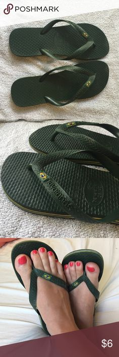 Green Havaianas Brazil Flip Flop. Top Havaianas green Brazil sandals. Gently used. Size 7/8 US.  39/40 Havaianas Shoes Sandals