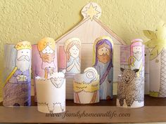 Link to printables for making your own toilet paper roll nativity.