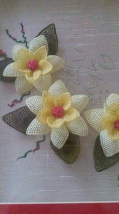 This Pin was discovered by HUZ Lace Flowers, Crochet Flowers, Fabric Flowers, Cutwork Embroidery, Embroidery Bags, Burlap Crafts, Diy And Crafts, Stitch Patterns, Crochet Patterns