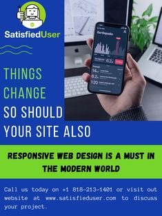 Contact Satisfied User in LA and get your responsive website created in no time. Help your customers access your website anywhere, anytime on their mobile phones in the highest quality. Web Design Agency, Web Design Services, Responsive Web Design, User Interface Design, Growing Your Business, 21st Century, Screens, Platforms, Laptops
