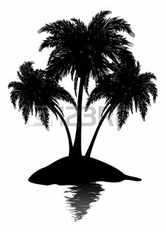 Silhouette of a tropic island with plam trees on white background.