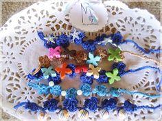 M de glaMour: Los diseños de M #pulseras #howlita #crochet #handmade #mix #colores #perlas