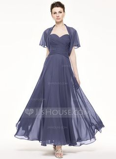 [US$ 107.49] A-Line/Princess Sweetheart Ankle-Length Chiffon Mother of the Bride Dress With Ruffle