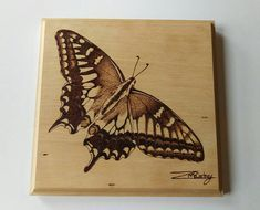 Swallowtail butterfly hand pyrography portrait. This beautiful item is signed by the artist and dated on the back. |The wood used in this work is Jelutong and it is sealed and has been given a wax finish.