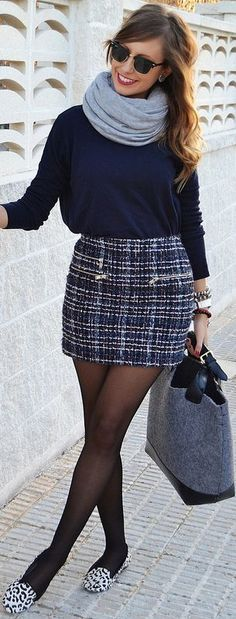 Like the combo, but maybe untuck the sweater some and definitely change the shoes.#Tweed  by Be Iconic