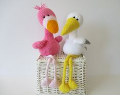Flamingo en Stork speelgoed breien patronen door fluffandfuzz