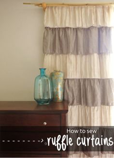DIY ruffle curtains with a black out liner. Super easy to make and I think it adds some romance into the room!