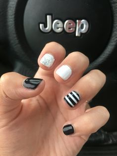 black and white striped gel nails
