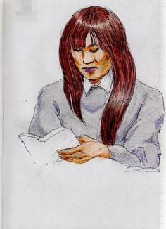 This is a sketch of the lady who put on the gray sweater I drew in the train.
