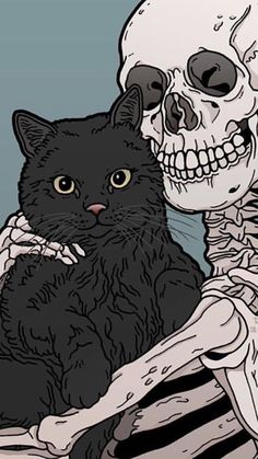 Kitty and Skeleton cats pets cute - Hintergrund - - Katzen / Cat - Cat Wallpaper Witchy Wallpaper, Halloween Wallpaper Iphone, Cat Wallpaper, Aesthetic Iphone Wallpaper, Aesthetic Wallpapers, Wallpaper Backgrounds, Phone Wallpapers, Skull Wallpaper Iphone, Halloween Backgrounds