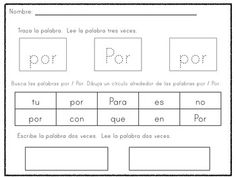Spanish high frequency words practice sheets