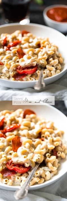 Skinny Pizza Mac and Cheese - Two comfort foods combined! This is SO quick, easy and delicious you would NEVER know that it's a healthy mac and cheese!   Foodfaithfitness.com   #recipe @FoodFaithFit