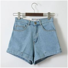 Vintage Denim High Waist Cuff Brand Jeans Women's Sexy Short