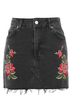 MOTO Rose Embroidered Skirt I have this skirt! Topshop Skirts, Topshop Tall, Floral Mini Skirt, Floral Skirts, Black Denim Skirt, Fashion Outfits, Womens Fashion, Fashion Trends, Modest Fashion