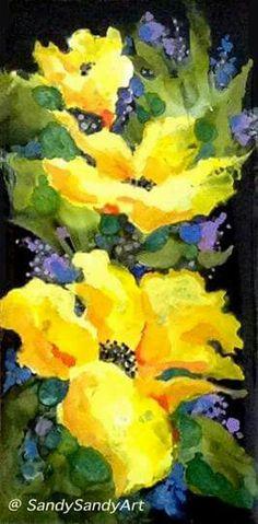 Fabulous Floral Art using alcohol inks by Sandy Sandy via sandysandyfineart.com♥♥