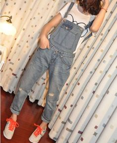 Denim Dungarees with Rip Details