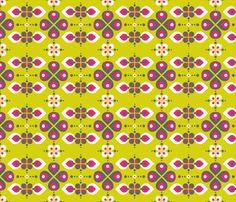 .Vintage Abstract Flowers Lime green  fabric by zesti on Spoonflower - custom fabric. kinda like.