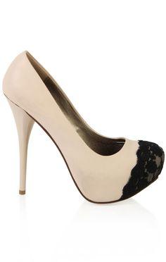 Deb Shops leather platform #pump with #lace toe