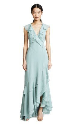 C/MEO COLLECTIVE C/MEO BE ABOUT YOU RUFFLE GOWN, SAGE | ModeSens Chiffon Ruffle, Chiffon Fabric, Ruffles, 15 Dresses, Bridesmaid Dresses, Wedding Dresses, China Fashion, Dress Cuts, Gowns